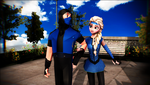 Sub-Zero and Elsa walking in the park by Hack-Girl