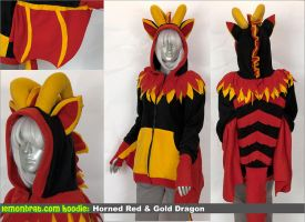 Horned Red and Gold Dragon Custom Hoodie! by lemonbrat