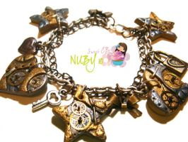 Steampunk Charm bracelet by colourful-blossom