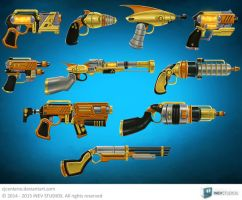 Space Steampunk Guns by cjcenteno