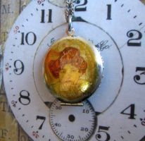 Locket with vintage Mucha immage by GraceCM