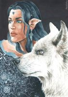 Luthien and Huan by Mahrfra