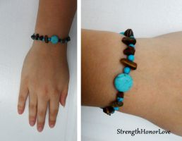 Cat Eye and Howlite Bracelet by StrengthHonorLove