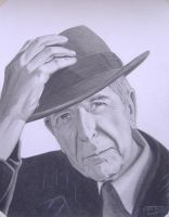 leonard cohen with hat by JeffEvans