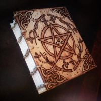Wooden Spellbook by elarralae