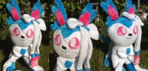 Custom Shiny Sylveon Plush Remake by MizukiiMoon