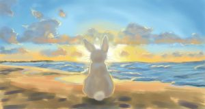 Bunny watching beautiful sunset by nienor