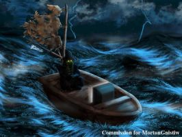 COM : Fisherman in Thunderstorm by whiteguardian