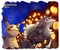 Lycanroc, Salandit and Mimikyu. by meriimerodii