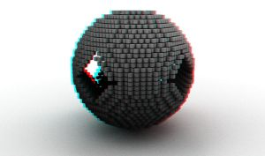 Ball of cubes anaglyph by mrkane27