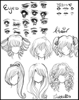 Manga/Anime Eyes and Hair by Lettelira