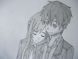 Kirito and Asuna by lyrablaze