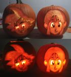 Goku + Chi-Chi Pumpkin by Orcryst