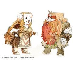Dwarf parents character design by Vaejoun