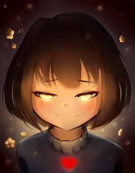Frisk with golden eyes by Sasoura