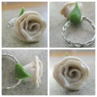White Rose Ring by CraftyAlice