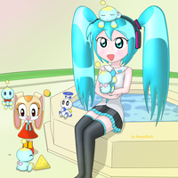 Miku and Cream in chao garden by NomadNoita
