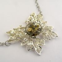 Steampunk resin enveloped butterfly pendant by SteamSect