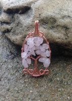 Oval Rose Quartz Tree of Life *SOLD* by SerenityWireDesigns