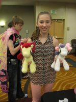 Michelle Creber with Apple Bloom and Sweetie Belle by NerdyKnitterDesigns
