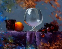 glass and grapes alla prima by turningshadow