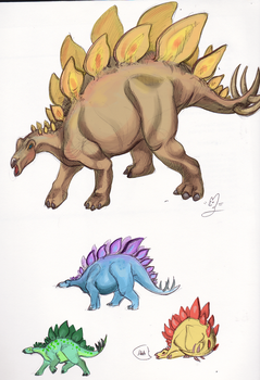 Stegosaurs by ManicDraconis