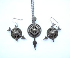 Steampunk Necklace Earring set - Silver by bahgee