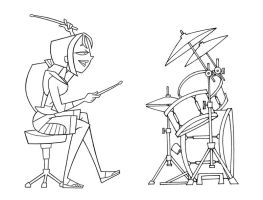 Bridgette and drum set by TDI-Exile