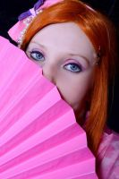 orihime kimono vers. behind the fan by kittychamallow