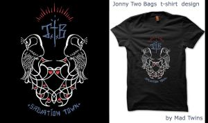 Jonny Two Bags Salavation Town T-shirt design by Vikrapuff
