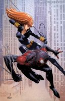 Black Widow and Spiderman by SamDelaTorre