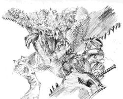 Monster Hunter Sketch by Ixalyst