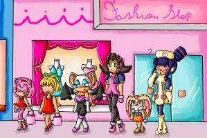 sonic girls and megaman girls at the mail by ninpeachlover