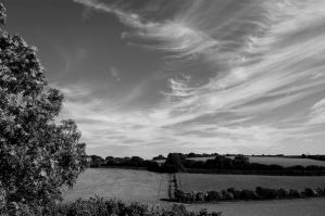 wispy cloud 2 b+w by Priddlee