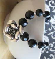 Vintage Black Onix Silver Rose by albitas