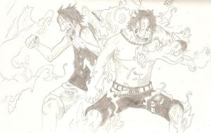 Ace and Luffy by shanks904