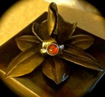 Silver and Amber Ring by HeathenLeFay