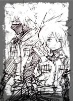 kakashi and Anko fight scene sketch1 by KickBass77