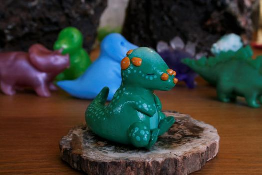 Custom Painted Sleepy Pachy with Dino Friends by MiniMynagerie