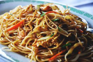 fried noodles with vegetables by anchaaa
