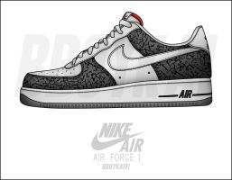 "Air Force 1 ""White Cement"" by BBoyKai91"