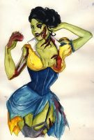 Snow White Zombie sketch by koffinkandy