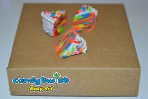 Polymer Clay Rainbow Cake...tie-dye style... by Dabstar