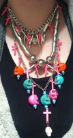 Skulls and Crosses necklace by xXChaosCandyXx