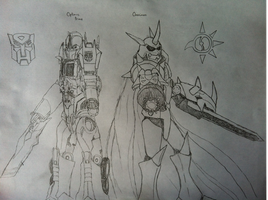 Optimus Prime and Omnimon by Omnimon1996