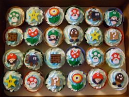 Super Mario Brothers cupcakes by ArtsyLady