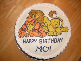 Lion and Tiger Grisser Birthday Cake by MonnieMoero