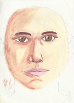 Drawing and Coloring of a female face-pastel and p by LEO-GENDARY
