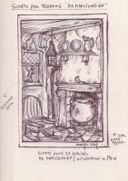 Old farm kitchen sketch by MsGothje