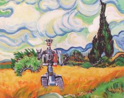 Wheat Field with Johnny 5 by HillaryWhiteRabbit